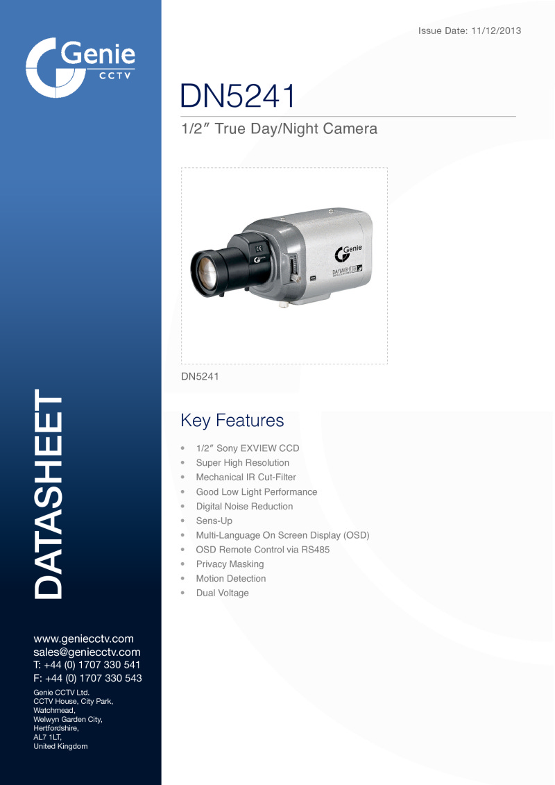1/2Inch CCD Box Camera Datasheet