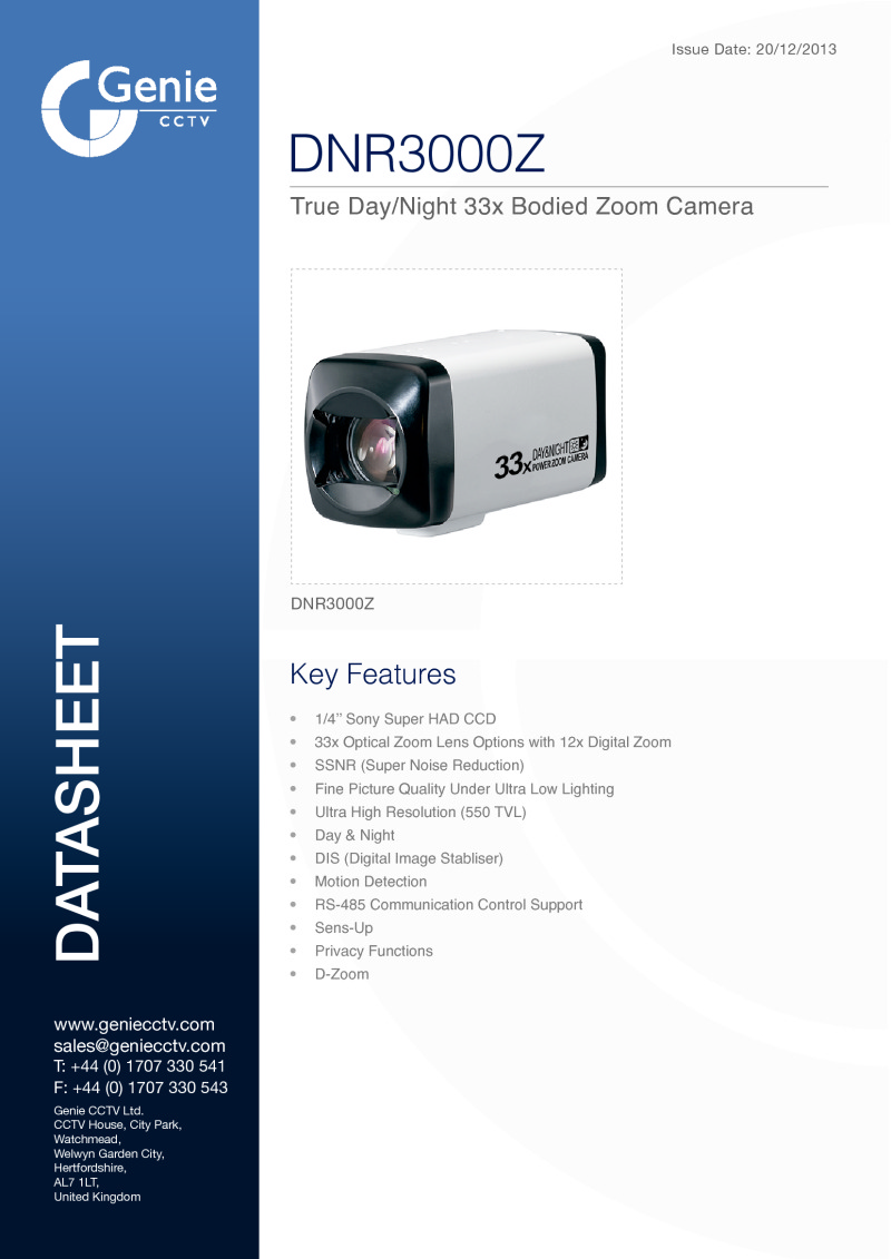 Zoom Box Camera Datasheet