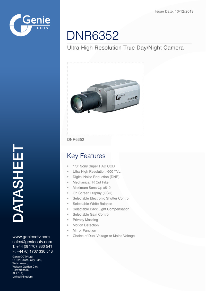 True Day/Night Box Camera Datasheet