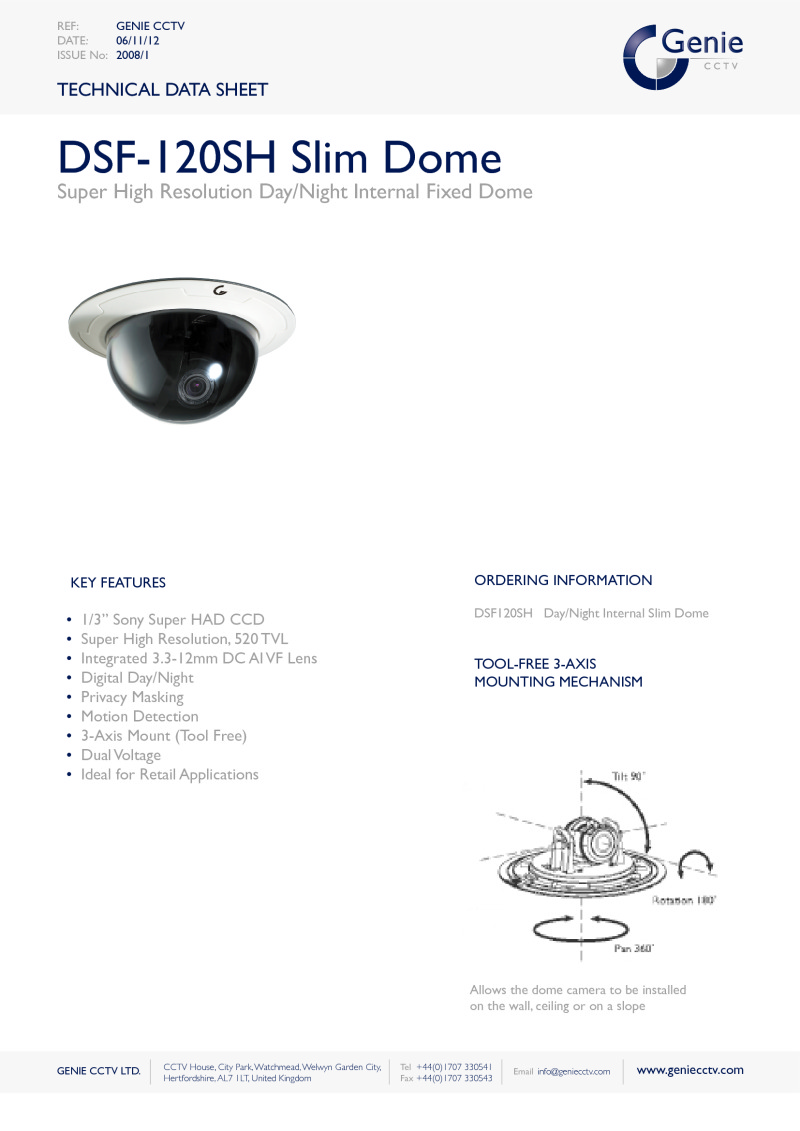 Digital Day/Night Dome Camera Datasheet