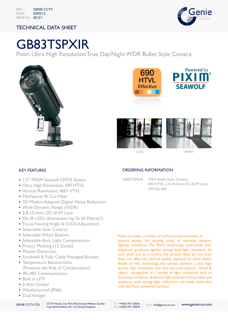 GB83TSPXIR Camera Datasheet