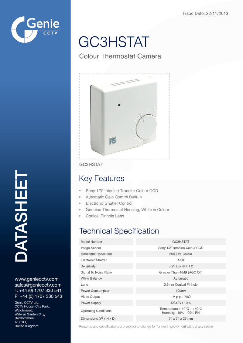 GC3HSTAT Camera Datasheet