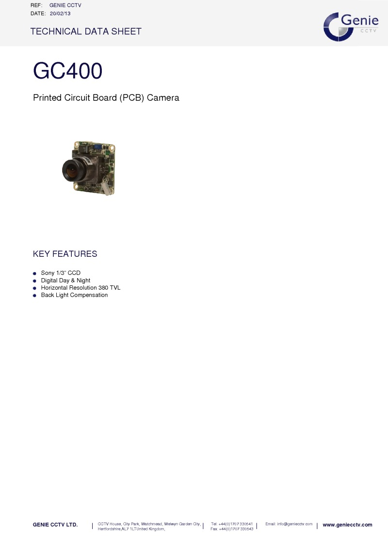 GC400 Camera Datasheet