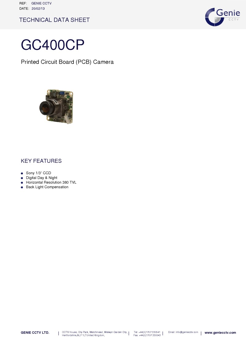 GC400CP Camera Datasheet