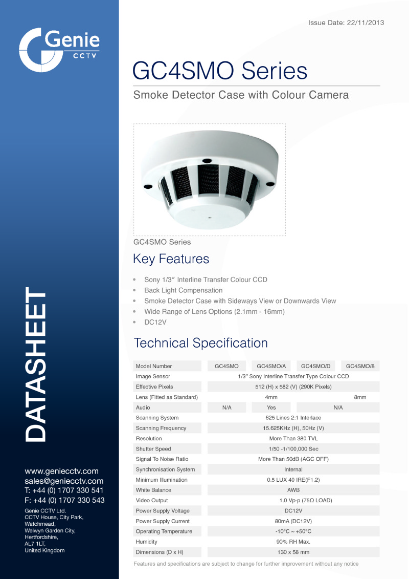 GC4SMO Camera Datasheet