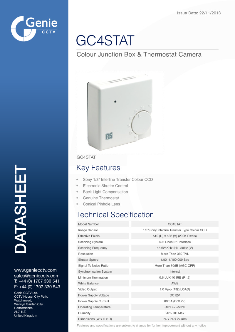 GC4STAT Camera Datasheet