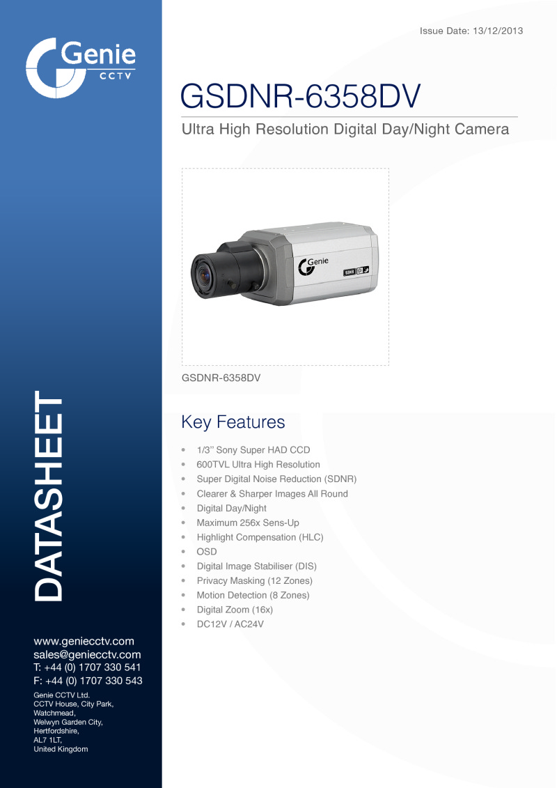 Digital Day/Night Camera Datasheet