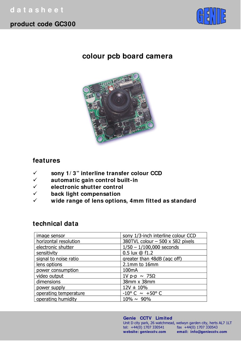 GC300 Camera Datasheet