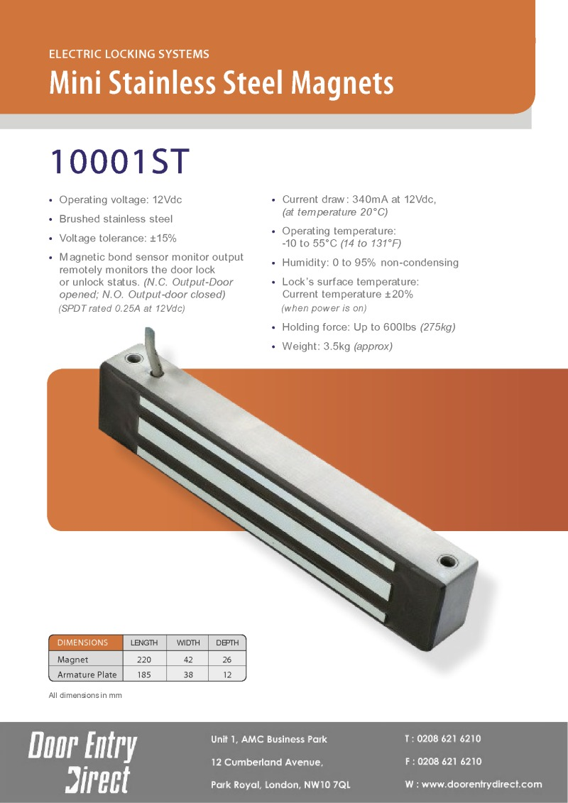 10001-ST Mini Stainless Steel Magnets Brochure