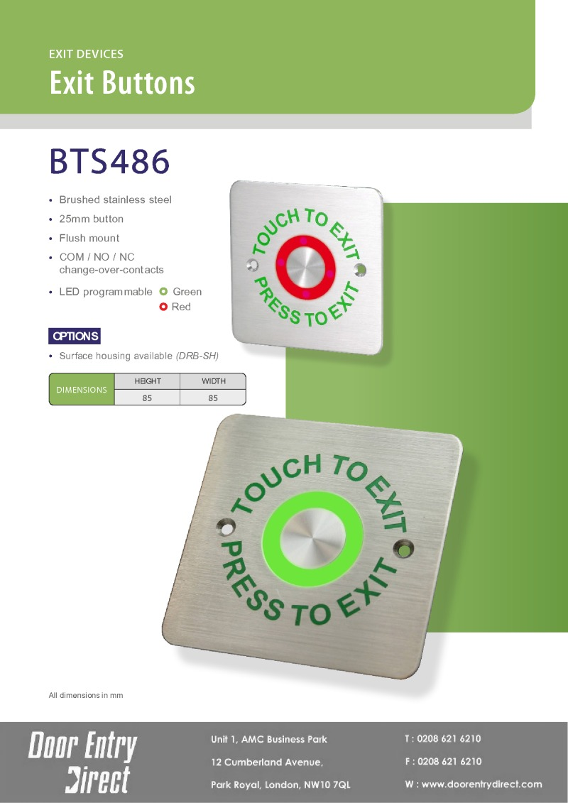 BTS-486 Brushed Stainless Steel Touch Sensitive Exit Button Brochure