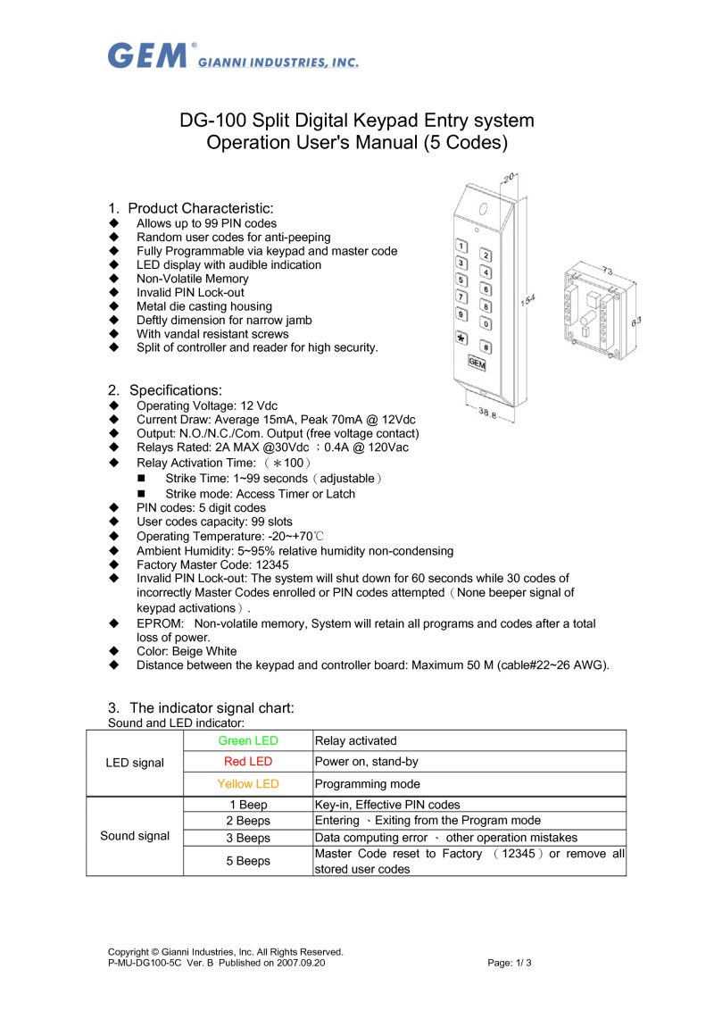 DG100 keypad User Guide