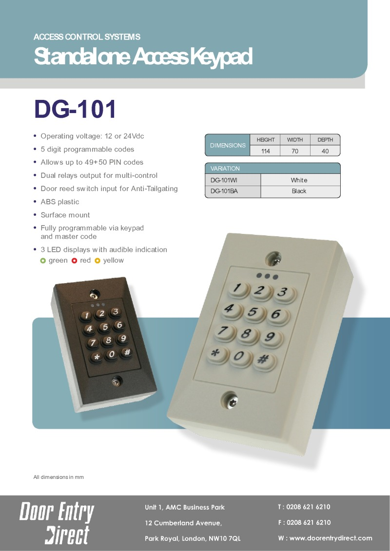 DG101 Internal keypad Data Sheet