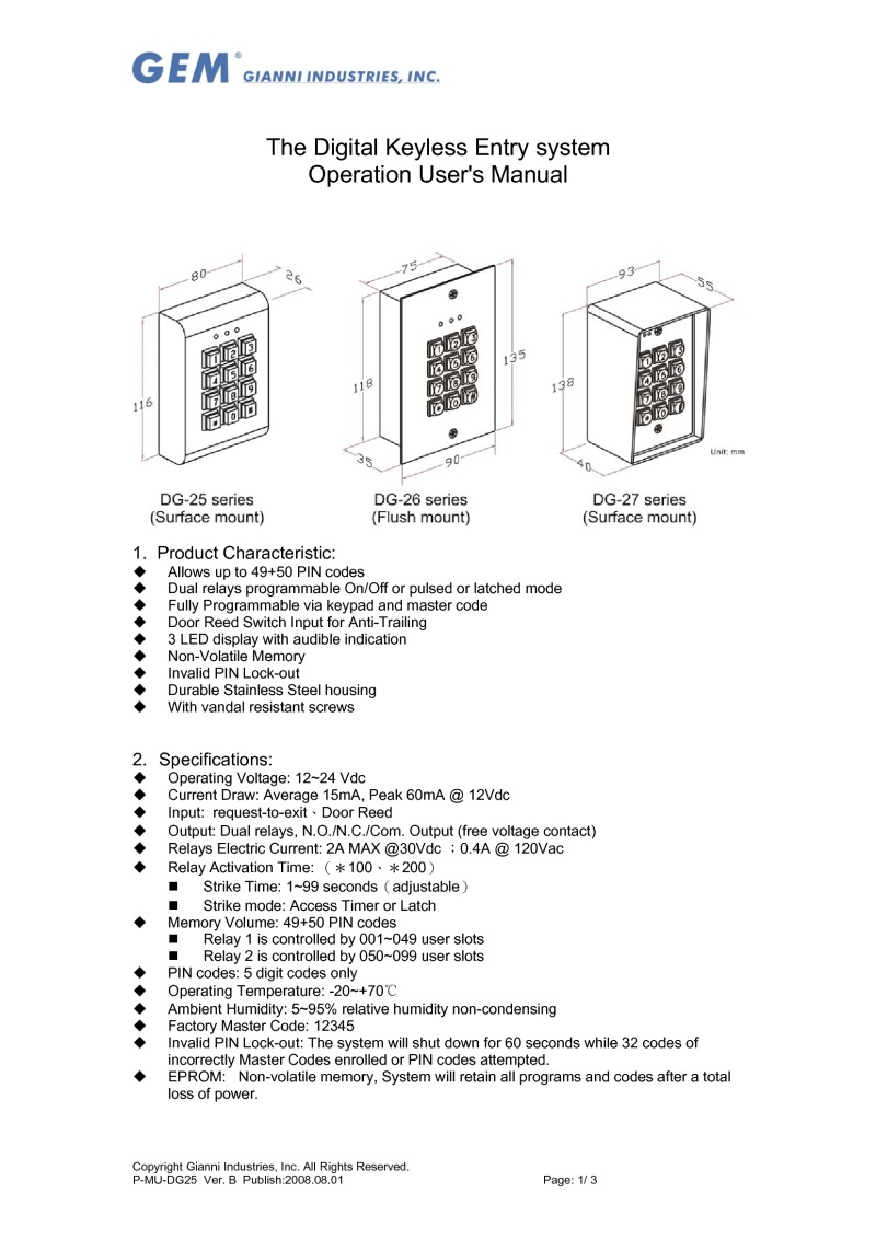 DG26 keypad User Guide