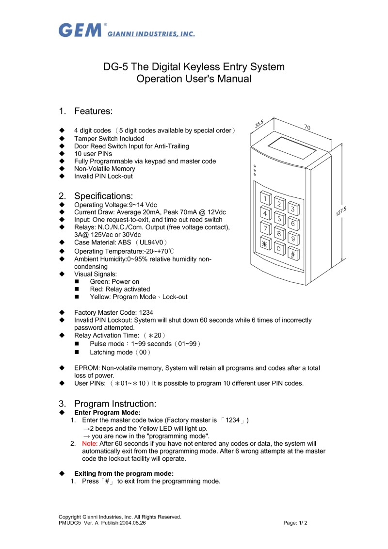 Dg 5 The Digital Keyless Entry System Operation Users Manual Reed Switch Wiring Diagram