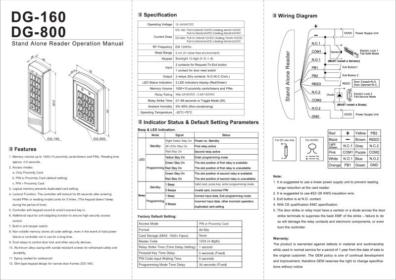 DG-800 Installation Instructions