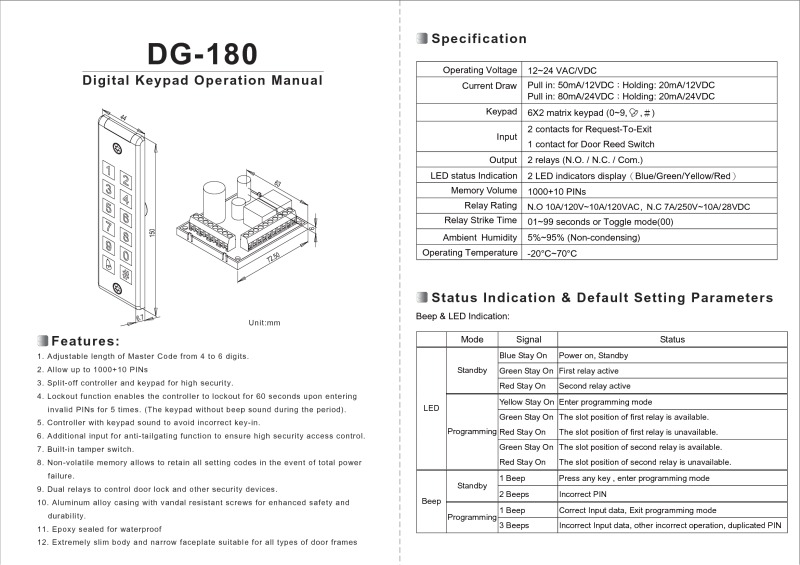 DG-180 Keypad User Manual