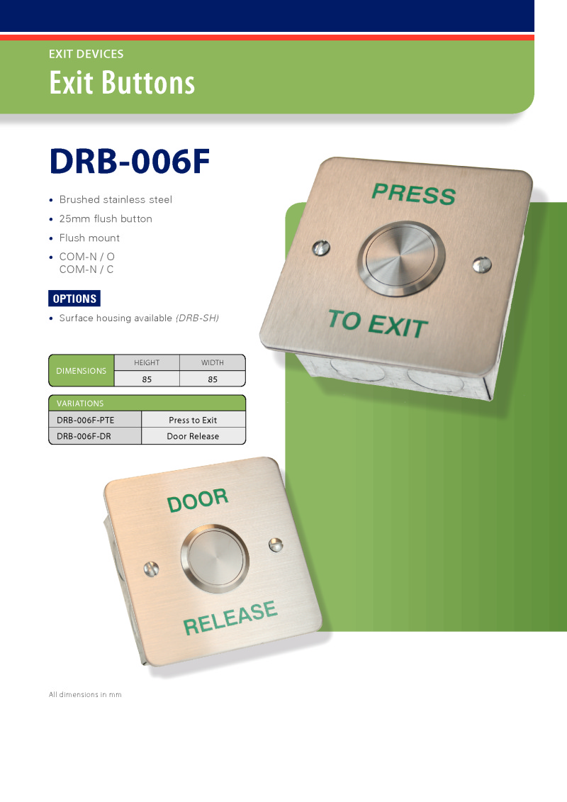 Exit Button - 25 mm Stainless Steel Button - Flush - Door Release