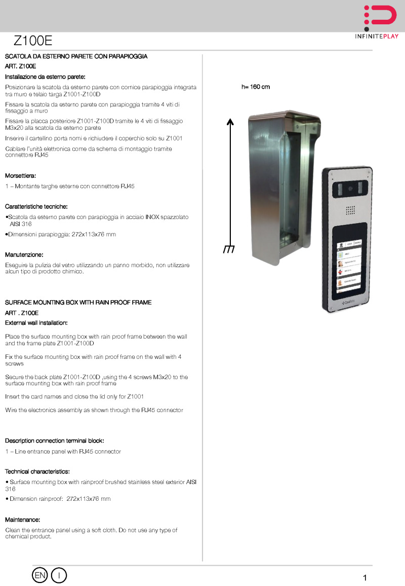Installation Instructions for installed Z100E surface box