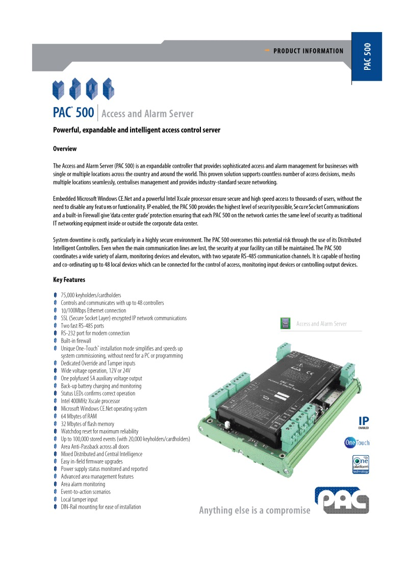 PAC 500 Access control server brochure