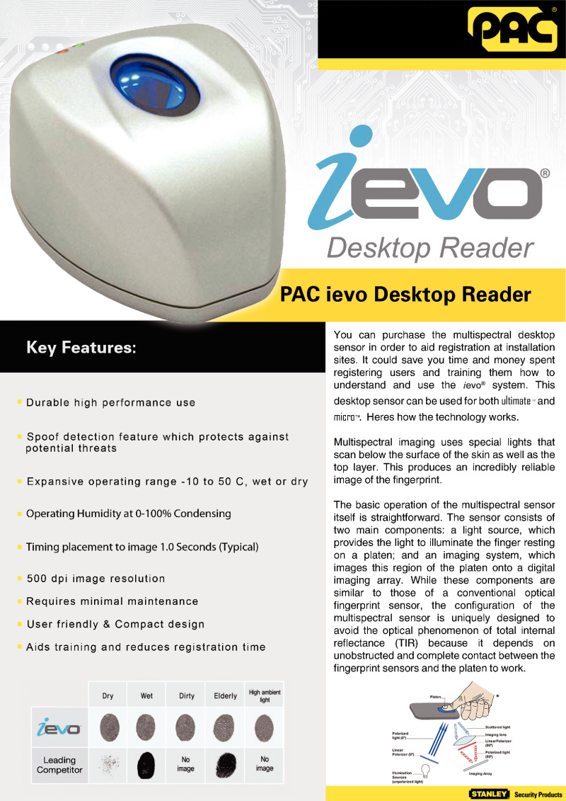 PAC ievo desktop reader brochure