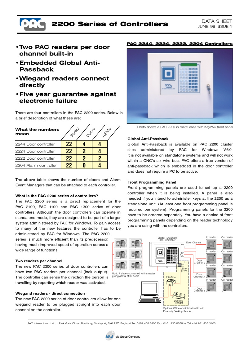 PAC 2244 four door controler brochure
