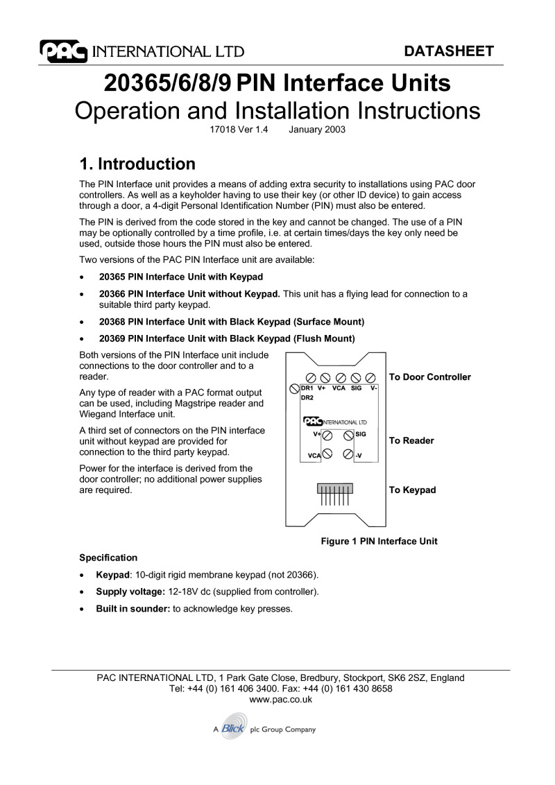 PAC 20365/6/7/8/9 Installation manual