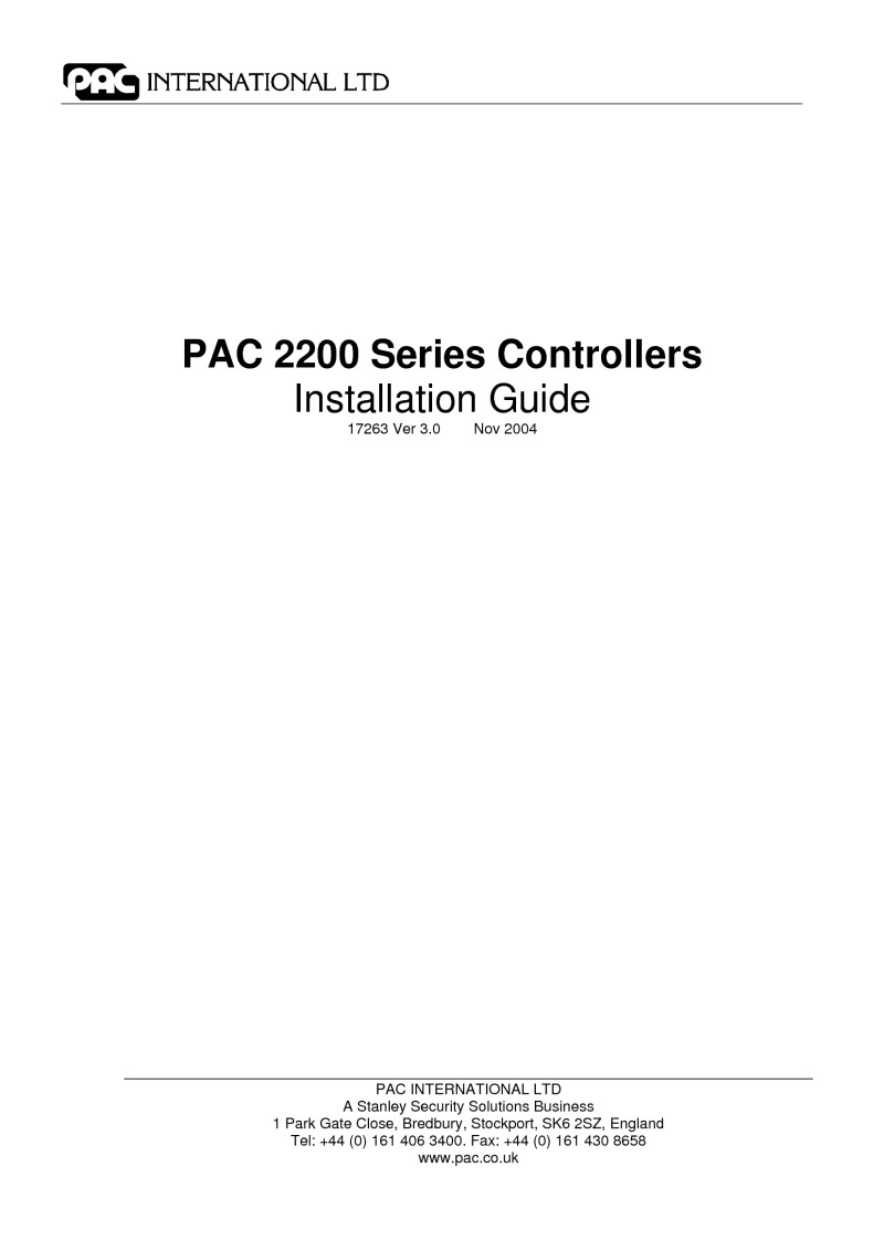 PAC 2200 series installation guide