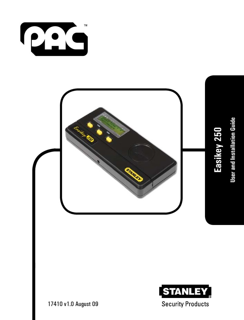 PAC Easykey 250 user and installation guide