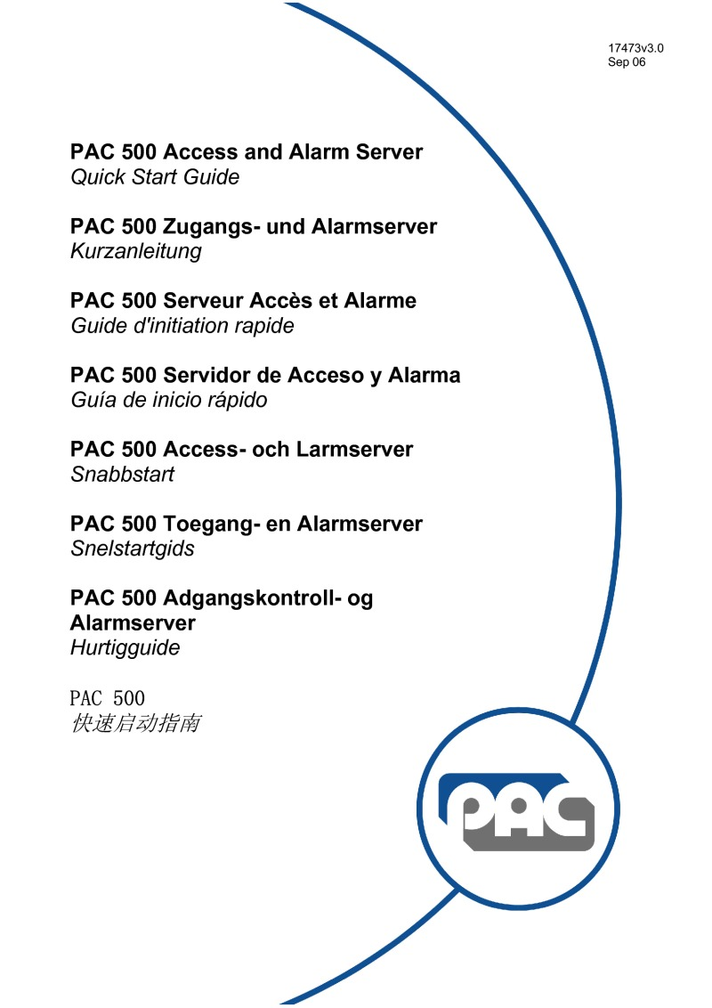 PAC 500 Access and Alarm server user guide