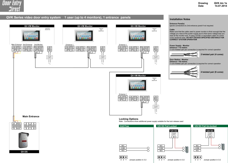 QVK 4 Monitors 1 Entry Panel Full Wiring Diagram