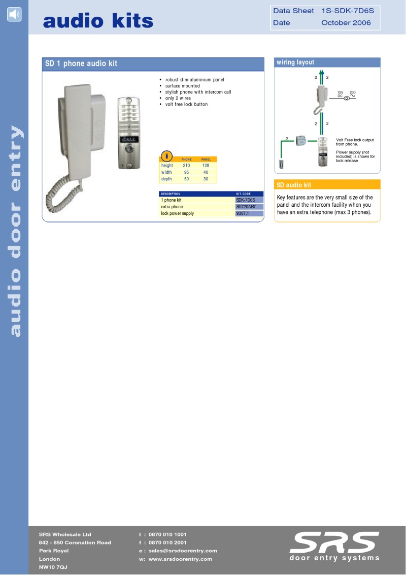 SD720 Audio door entry kits - leaflet