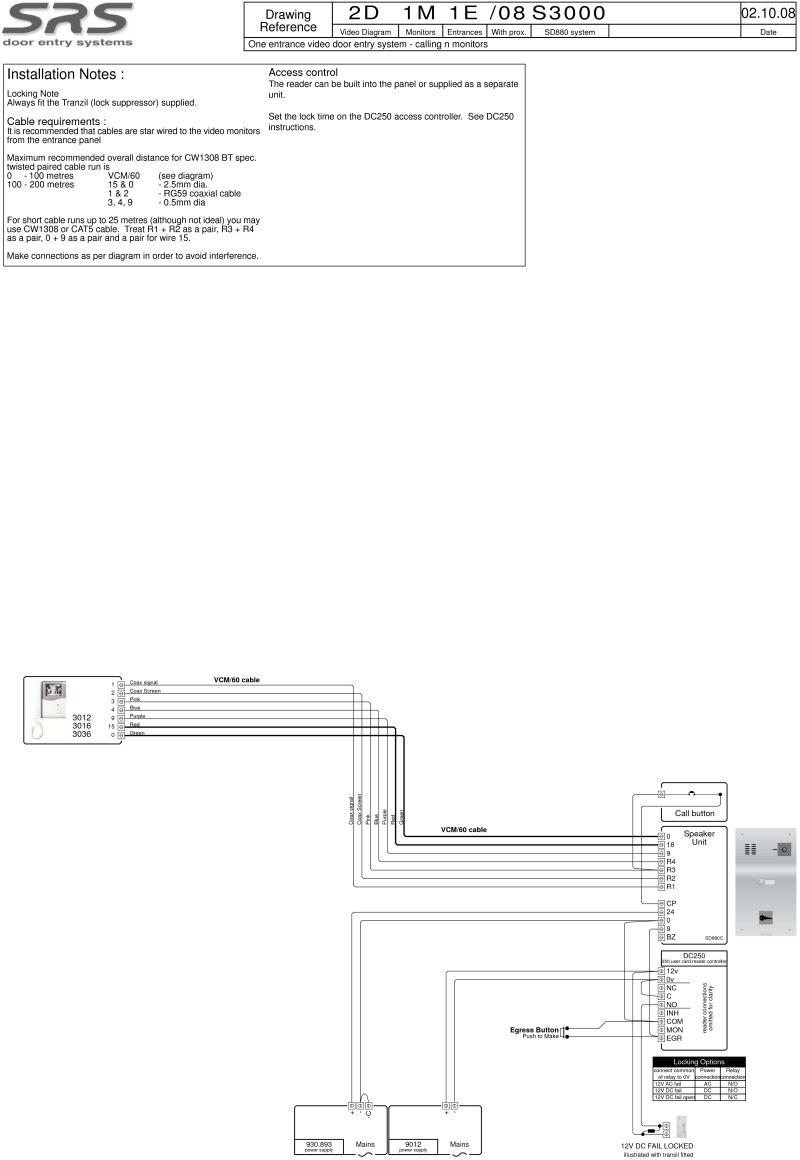 SD 3000 series (1 way) video wiring diagram with VR panel and built in