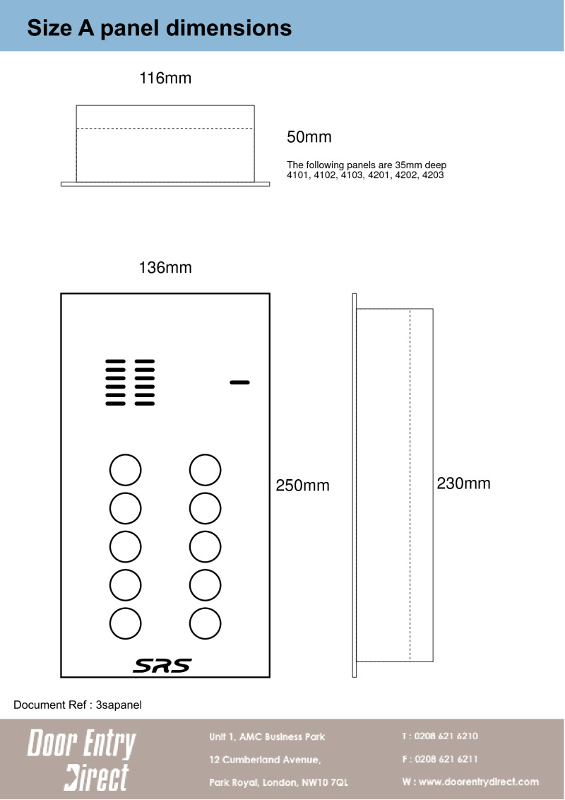 "Data Sheet ""A"" panel dimensions"