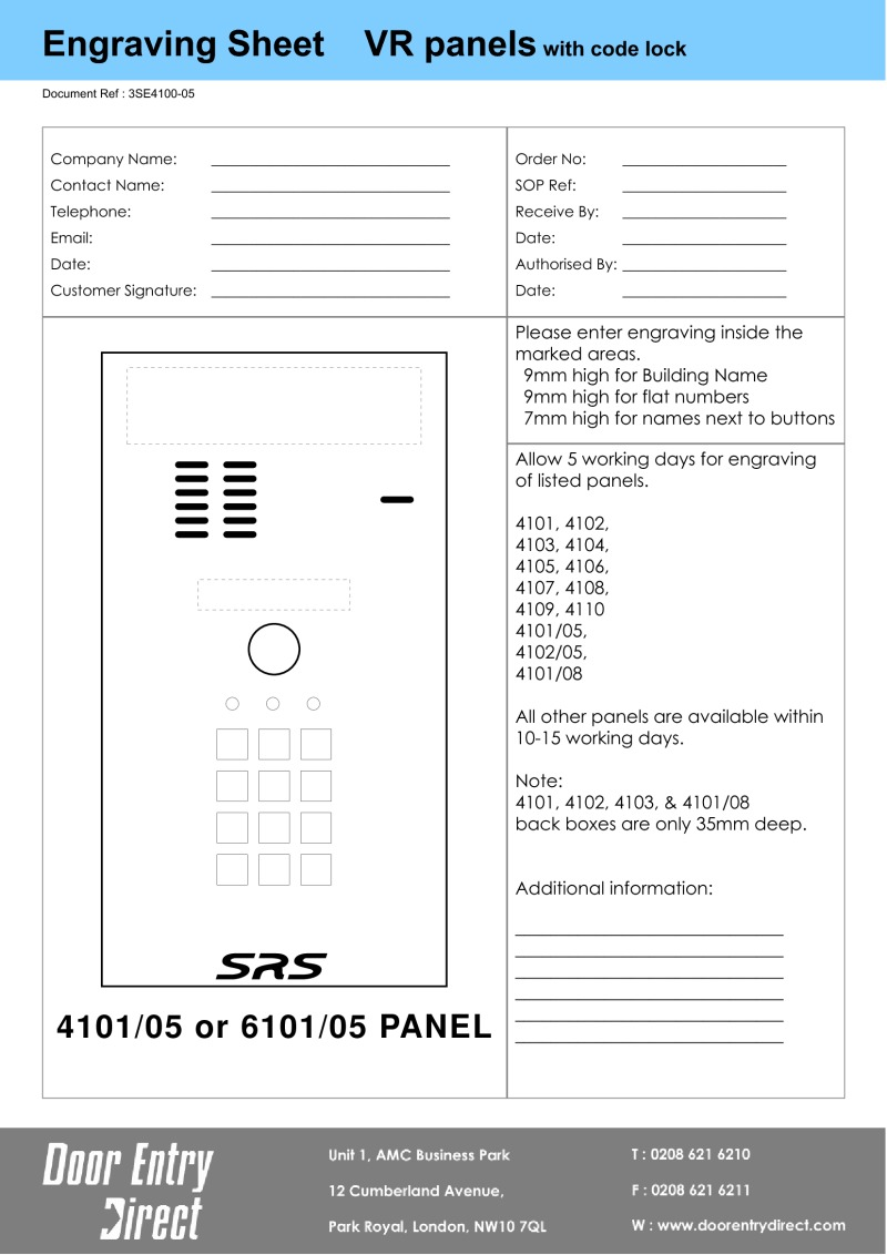 "Engraving Sheet ""A"" Size keypad panels - for customers to complete"