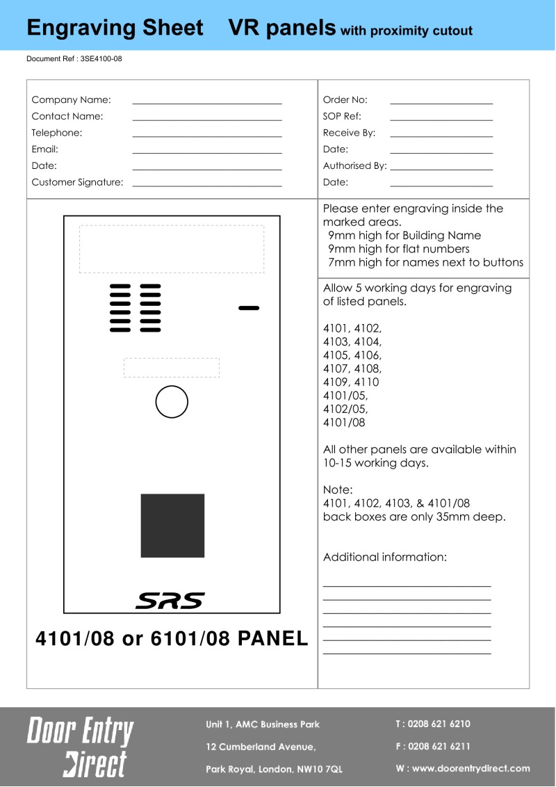 Engraving Sheet proximity panels - for customers to complete