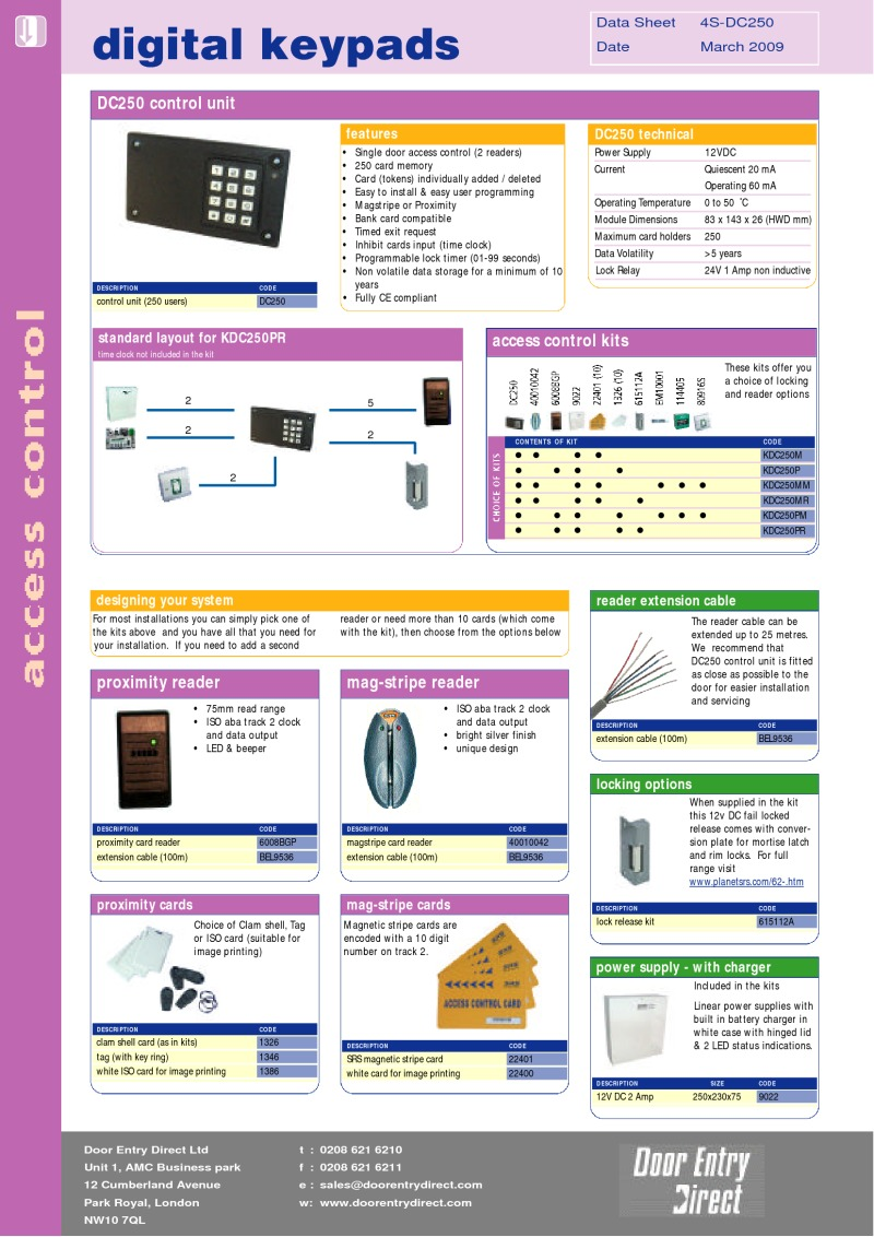 Access control controller, stand alone - 250 user