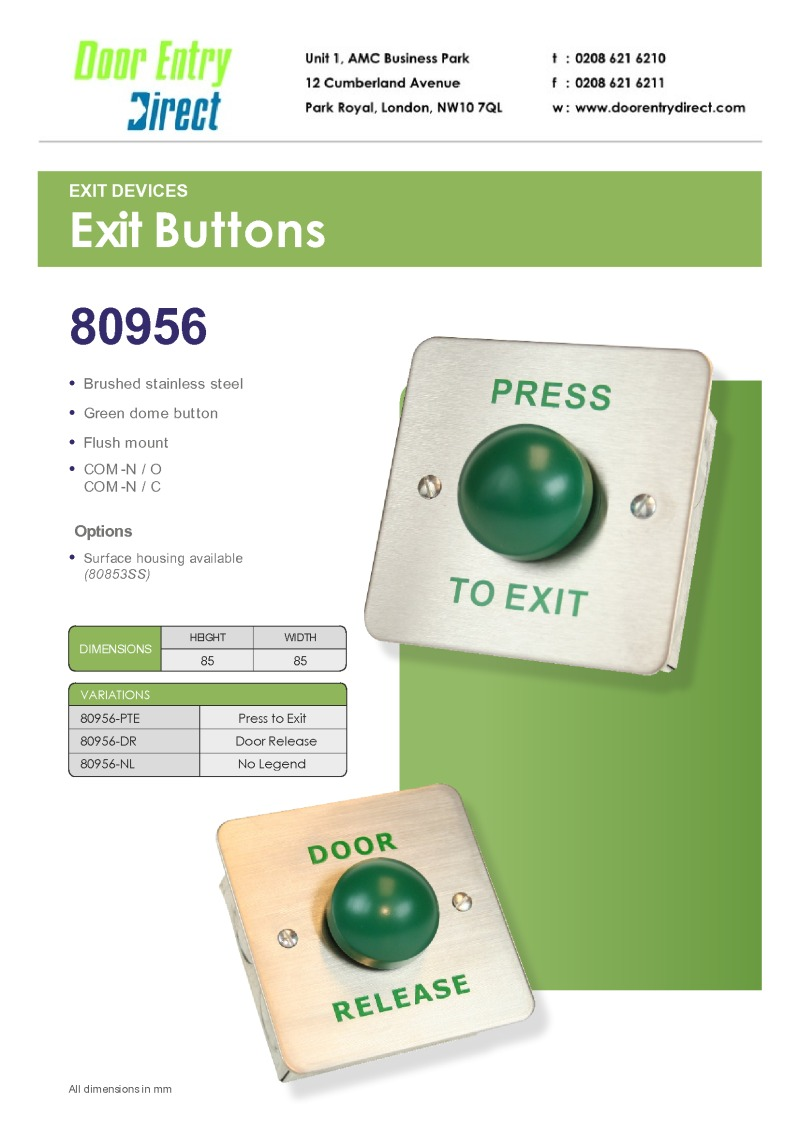 SRS - 80956 Green Dome egress buttons leaflet