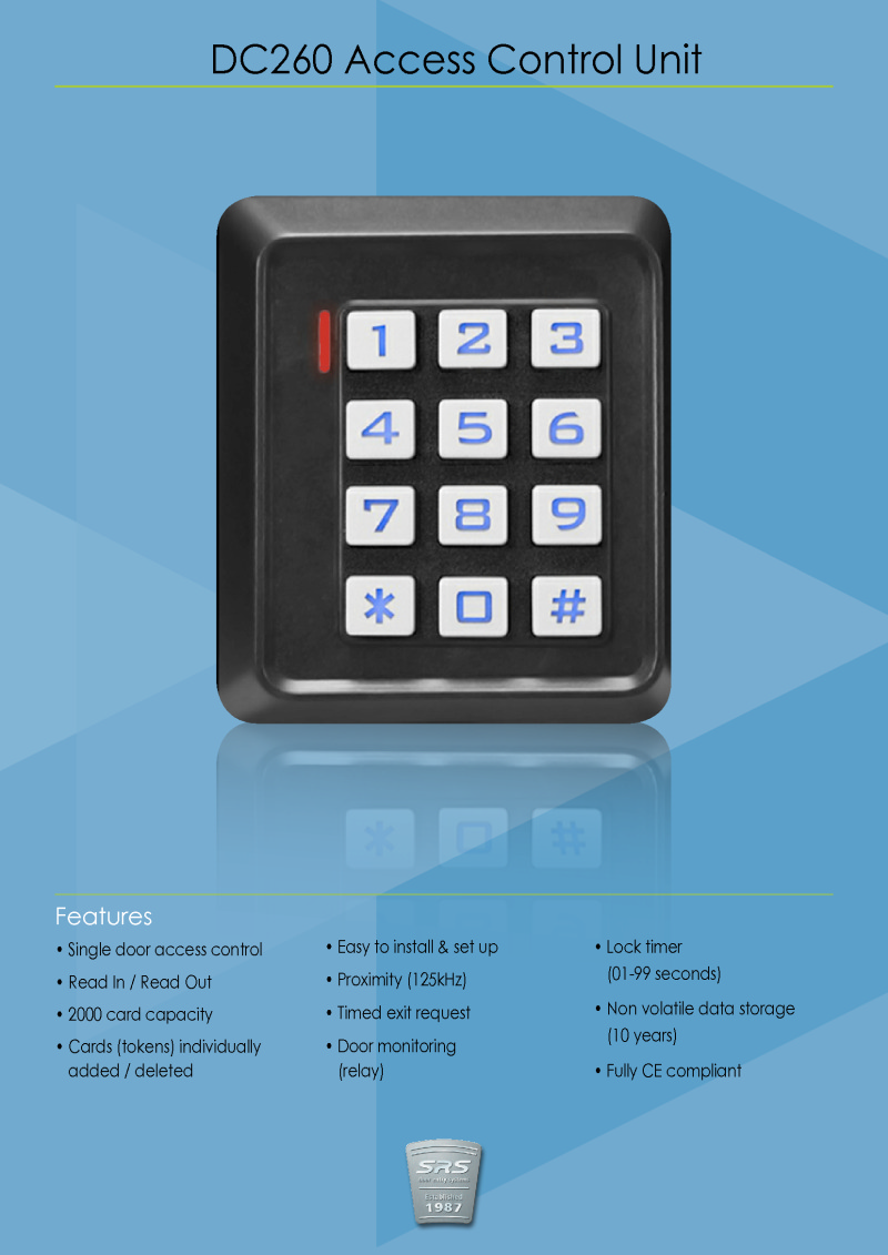 SRS - DC260 stand alone access control system brochure