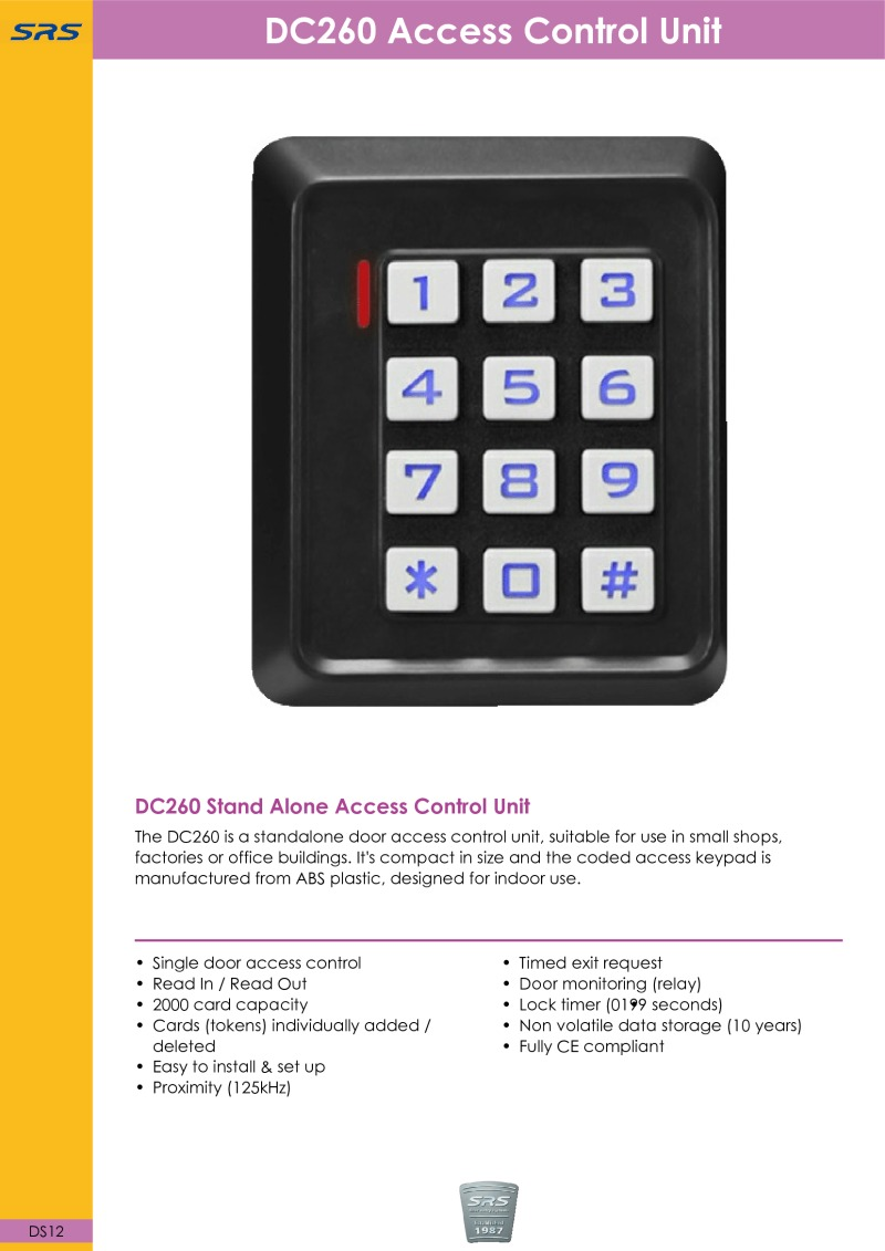 SRS - DC260 Stand Alone Access Control - Datasheet - Jan 2018