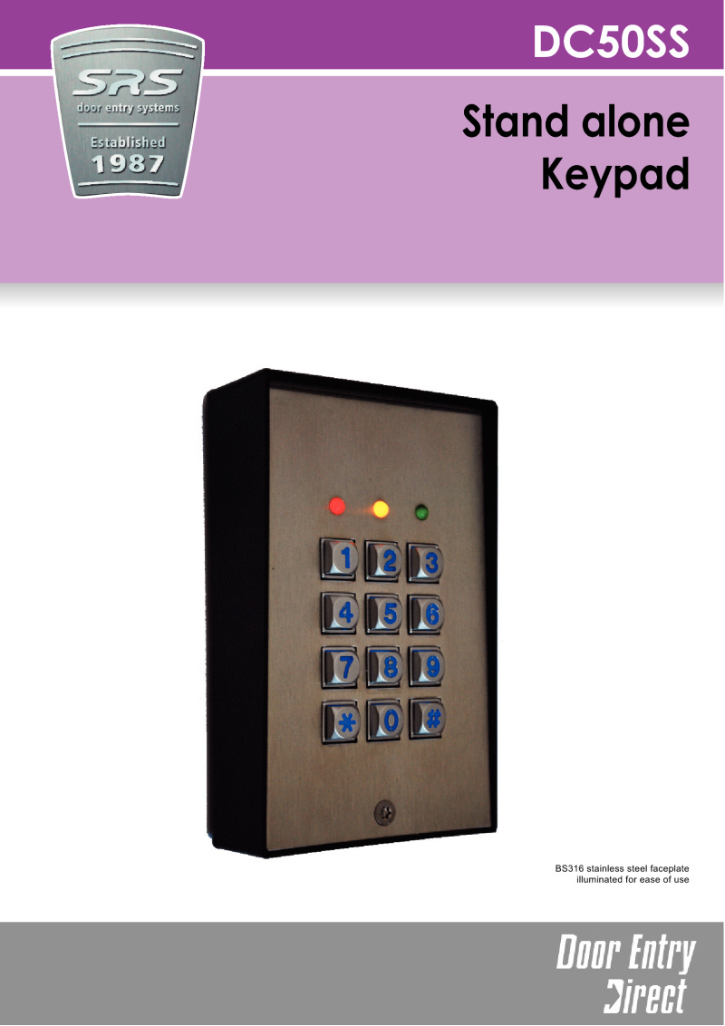 SRS - DC50 stand alone Keypad Access Control leaflet