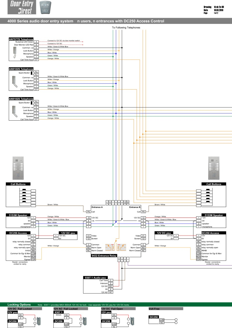 Srs Wiring Diagrams Door Buzzer System Diagram Audio Installation N Way Entrances With Dc250 Access