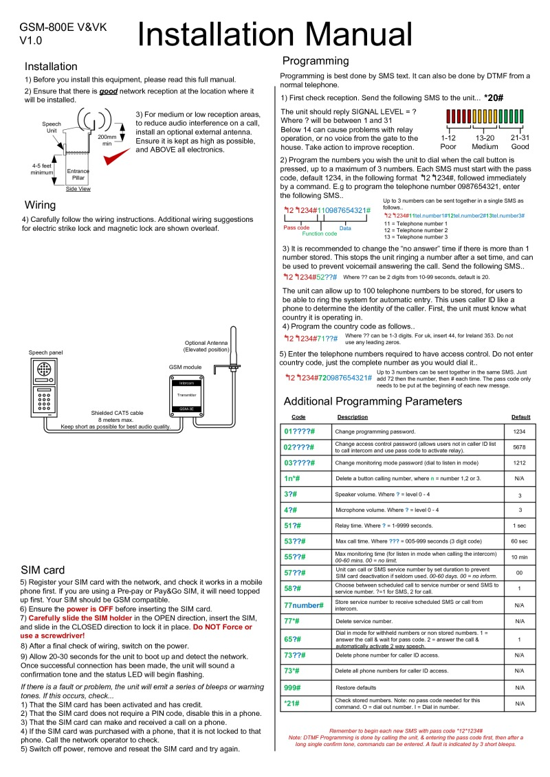 Srs Installation Instructions Magnetic Door Lock Wiring Gsm800e Videx 4836 1 4000 Series Guide