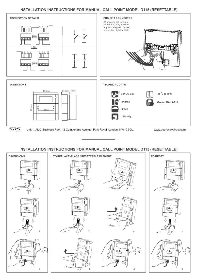 D115 resettable break glass unit installation instructions