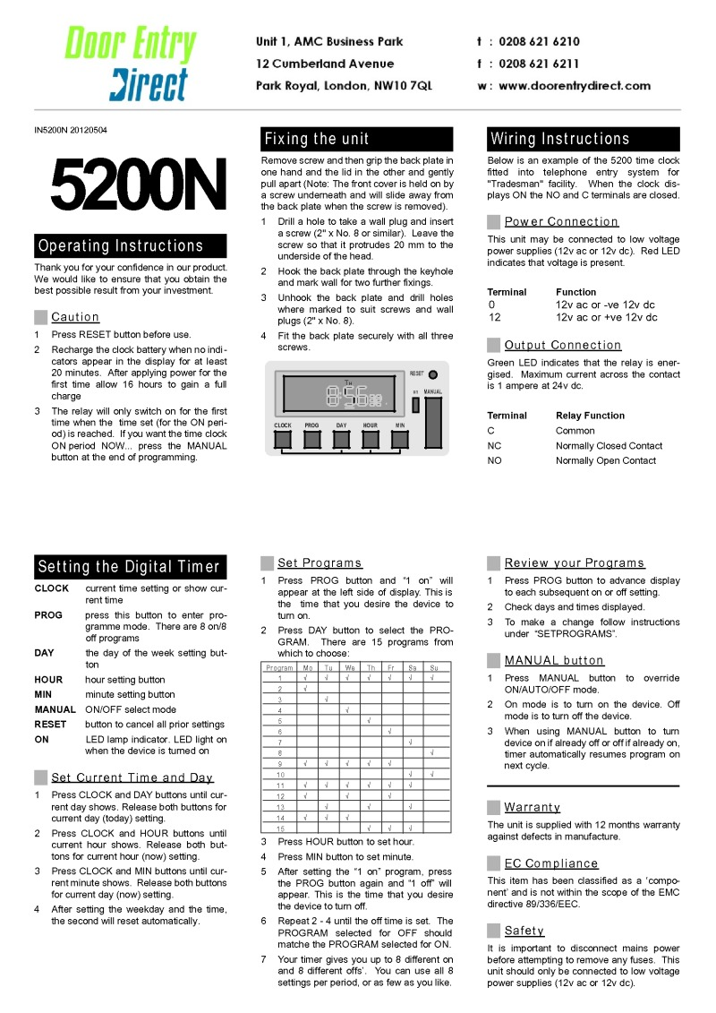 Instructions 5200 Time Clock - from September 1998