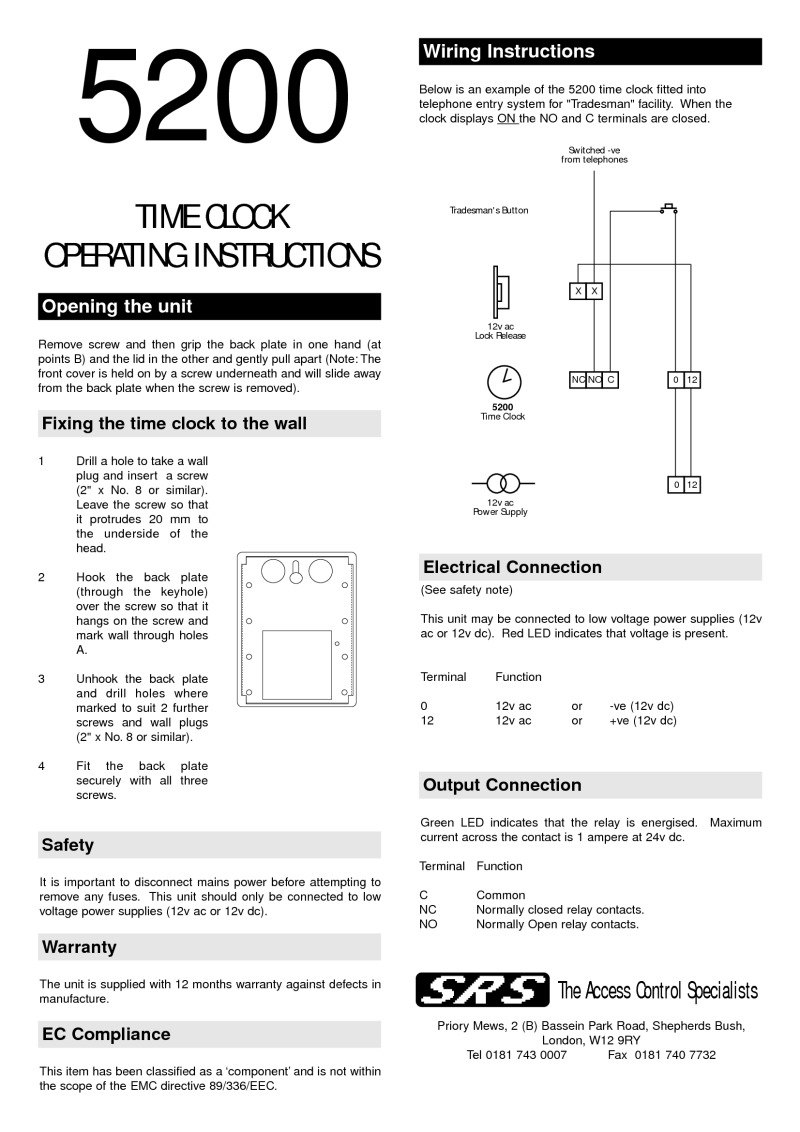 Instructions 5200 Time clock (pre 2003)
