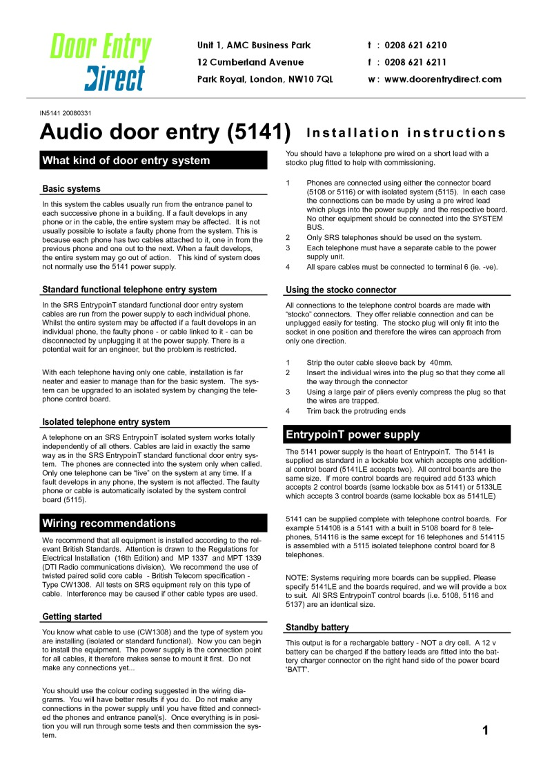 Connecting Logisty Daitem Intercoms To Cb1 Control Panel Srs Installation Instructions 5141 Power Supply