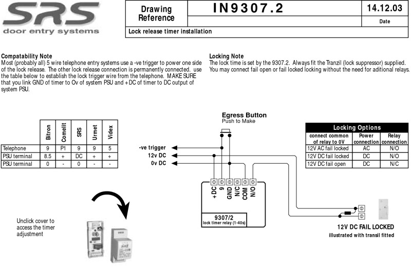 SRS time delay relay 0-40 sec. DIN mount, 12V DC