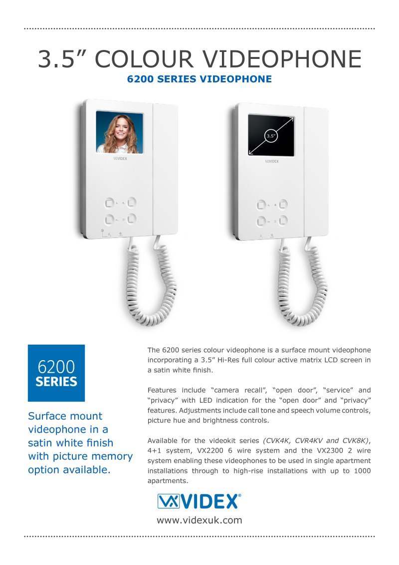 Videx V 6276 Surface White 35 Monitor With Handset Vx2200 S Wiring System Door Entry Phone Accessories