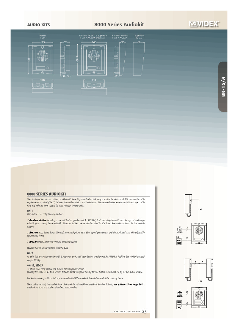 Videx 8000 Series Audio Kit Brochure
