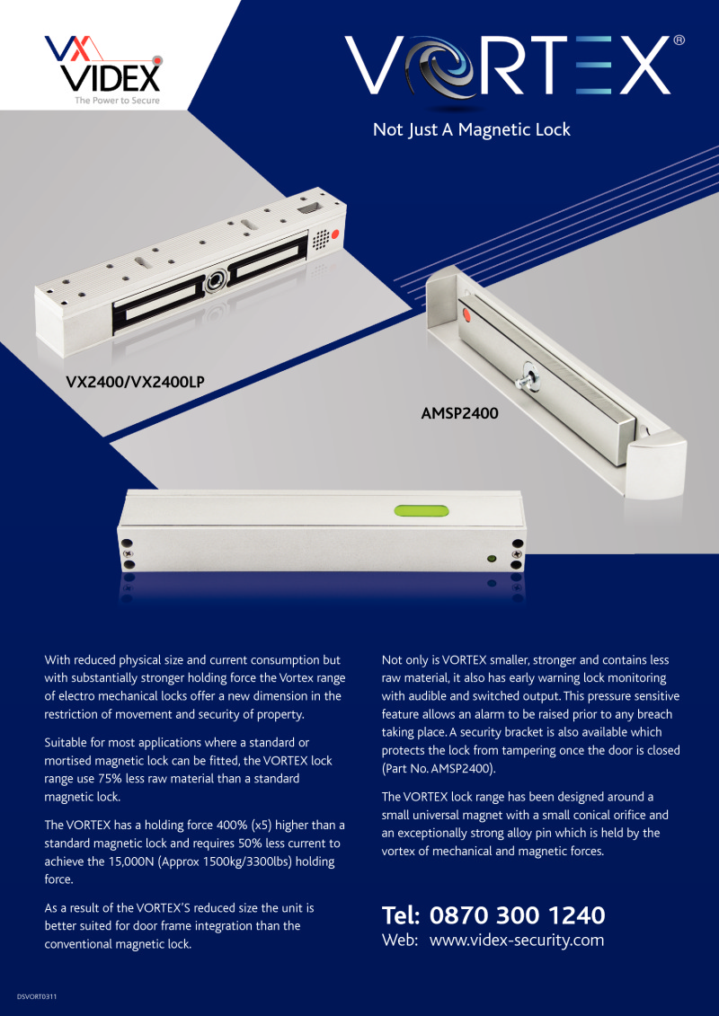 Videx Vortex - Magnetic locks brochure